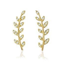 10K Gold Ear Crawler/ Climber Cuff Earrings Studs Olive Leaf