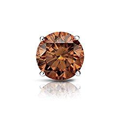 14k Gold 4-Prong Basket Round Brown Diamond SINGLE STUD Earring (1/8 – 1 ct, Brown, SI1-SI2) Push-Back