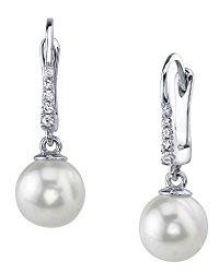 14K Gold White Akoya Cultured Pearl & Diamond Susan Earrings