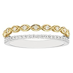 14K White and Yellow Gold 1/4 c.t. TW Stacked Infinity Diamond Fashion Band Ring (I, I1)