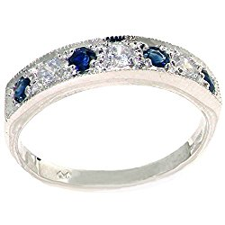18k White Gold Natural Diamond and Sapphire Womens Band Ring (0.18 cttw, H-I Color, I2-I3 Clarity)