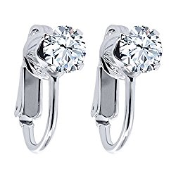 2.00 Ct Round Cut Natural White Topaz 925 Sterling Silver Clip On Earrings