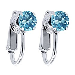 2.00 Ct Round Swiss Blue Topaz 925 Sterling Silver Clip On Earrings
