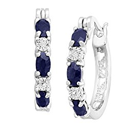 2 1/10 ct Natural Sapphire Hoop Earrings with Diamonds in Platinum over Brass, .875″