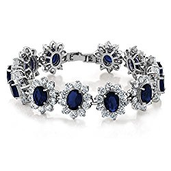 27.00 Carat Oval and Round Royal Blue Sapphire CZ Tennis Bracelet 7 Inch with Security Clasp
