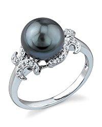 8mm Tahitian South Sea Cultured Pearl & Diamond Crown Jewel Ring in 14K Gold