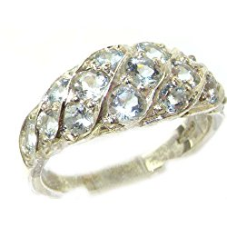 925 Sterling Silver Natural Aquamarine Womens Band Ring – Sizes 4 to 12 Available