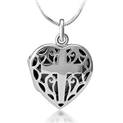 925 Sterling Silver Open Filigree Christian Cross Heart Shaped Locket Pendant Necklace, 18 inches