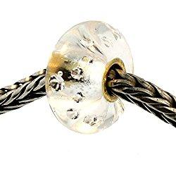Authentic Trollbeads Glass 63001 Diamond Bead w/ Gold Core
