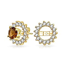Bling Jewelry 925 Silver Gold Plated CZ Round Earring Jackets For Studs