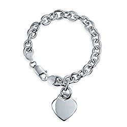 Bling Jewelry Heart Tag Charm Bracelet 925 Sterling Silver With Free Engraving
