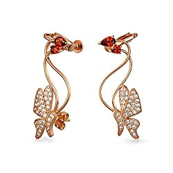 Bling Jewelry Red CZ Butterfly Ear Crawler Earrings Rose Gold Plated