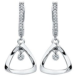 Brilliance in Motion Triangle Earrings in Sterling Silver with 1/6 Ctw. Diamonds