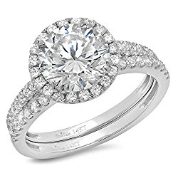 Clara Pucci's 14k White Gold Brilliant Round Cut Simulated Diamond CZ Double Halo Band Ring, 2.82 CT