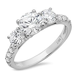 Clara Pucci's Round Cut Simulated Diamond CZ 14k White Gold Three Stone Accent Ring Band, 1.9CT