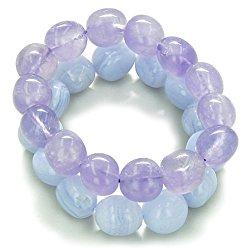 Double Lucky Purple Quartz Blue Lace Agate Good Luck Powers Lucky Bracelets
