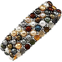 Dyed Multicolor Cultured Freshwater Pearl & Sterling Silver Stretch Bracelet