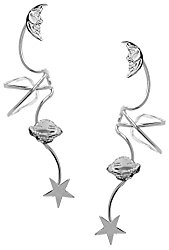 Ear Charm's Non-Galaxy Full Ear Spray Rhodium On Sterling Silver Pair Ear Cuff Earrings