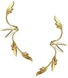 Ear Charm's Pair Non-Pierced Delicate Leaf Full Ear Spray Gold On Sterling Silver Ear Cuff Earrings
