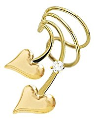 Ear Charm's Puff Heart and CZ Non-Pierced Left Short Wave Gold on Silver Wrap-on Ear Cuff Earrings