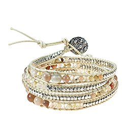 Earthy Reconstructed Agate-Glass-Silvertone Beads Cotton Snake Cord Wrap Bracelet
