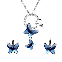 EleQueen 925 Sterling Silver Butterfly Denim Blue Jewelry Adorned with Swarovski Crystals Pendant Necklace Stud Earrings Set