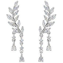 EVER FAITH 925 Sterling Silver CZ Simple Leaves Teardrop Ear Cuff Wrap Sweep Stud Earrings 1 Pair Clear