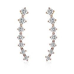 EVER SHINE Ear Cuffs Vines Climbers Wrap Pierced Pins Hook Earrings CZ Crystal 7 Stones