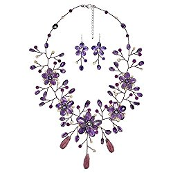 Floral Elegance Purple Quartz and Cultured Freshwater Pearl .925 Sterling Silver Jewelry Set