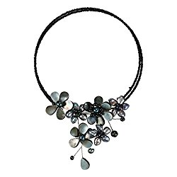 Floral Mother of Pearl Shell-Cultured FW Black Pearls-Glass Beading On Base Memory Wrap Necklace
