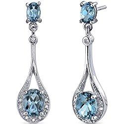 Glamorous 4.00 carats London Blue Topaz Oval Dangle Cubic Zirconia Earrings in Sterling Silver