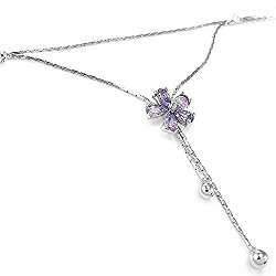 Glamorousky Elegant Flower Anklet with Purple and Silver Austrian Element Crystals (3534)