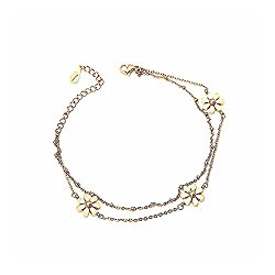 Glamorousky Fashion 18K Gold Plated Stainless Steel Daisy Anklet For Women (17210)