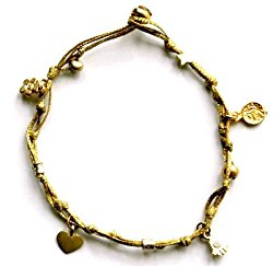 Gold Ankle Bracelet With Gold Plated Love and Good Luck Charms