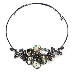 Gradual Flower Cultured Freshwater Black Pearls and Mother of Pearl Cluster Choker Wrap Handmade Necklace