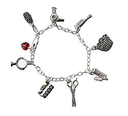 Hair Stylist Pewter and Sterling Silver Charm Bracelet- Comb, Brush, Dryer, Spray, Scissors- Sizes XS-XL