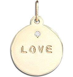 "Helen Ficalora ""Love"" Disk Charm With Diamond"