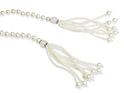 HinsonGayle AAA 7-7.5mm Freshwater Cultured Pearl Tassel Lariat Sautoir Necklace 44″
