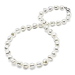 HinsonGayle AAA Handpicked 10-11mm Baroque Freshwater Cultured Pearl Necklace (Silver 18″)