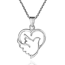 Holy Spirit Dove of Love and Peace .925 Sterling Silver Necklace
