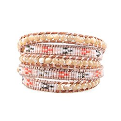 Kelitch Mother of pearl Mix agate Seed Beads Woven 5 Wrap Bracelet Handmade Fashion women Jewelry