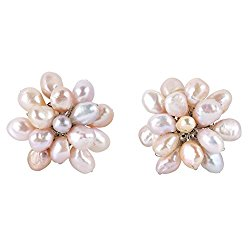 Large Cultured Freshwater Pink Pearl Floral Cluster Stylish Clip On Statement Earrings