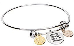 Life is Tough But I Am Tougher Inspirational Adjustable Charm Bangle Bracelet by Jewelry Nexus
