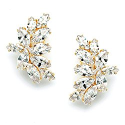 Mariell 14K Gold Plated CZ Clip Earrings with Marquis-Cut Clusters – Bridal, Wedding & Mother of Bride