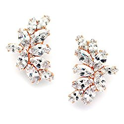 Mariell Blush Rose Gold CZ Earrings with Marquis-Cut Clusters – Bridal, Wedding & Mother of Bride Glamour