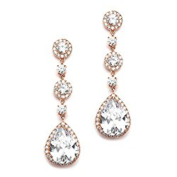 Mariell Cubic Zirconia 14K Rose Gold Pear-Shaped Teardrop Dangle Earrings – Brides, Weddings and Formals