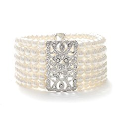 Mariell Ivory Pearl and Crystal Vintage Stretch Bracelet – Art Deco Glam – 6-Rows – One Size Fits Most