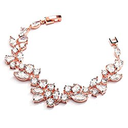 Mariell Mosaic Rose Gold CZ Wedding Bridal Bracelet 6 1/4″ – Shorter Petite Length for Smaller Wrist