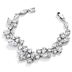 Mariell Mosaic Shaped CZ Wedding Bracelet in Silver Rhodium. Petite Size, Perfect for Smaller Wrist!