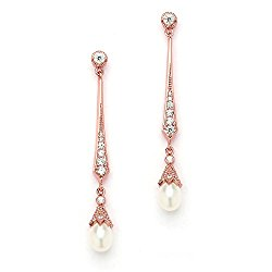 Mariell Slender Rose Gold CZ Vintage Dangle Earrings with Freshwater Pearl Drops – Bridal Wedding Style